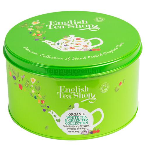 ETS 30 English Tea Shop Fehér és Zöld Teaválogatás Fém Díszdobobozban