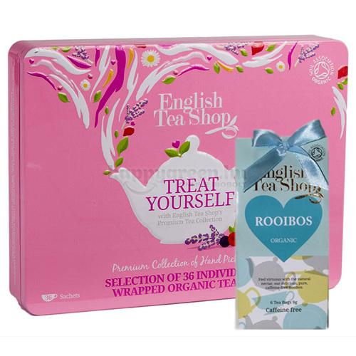 ETS 36 English Tea Shop Gyümölcsös Teaválogatás Fémdobozban Ajándék ETS 06 Rooibos Teával