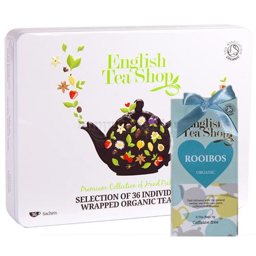 ETS 36 English Tea Shop Prémium Teaválogatás Fémdobozban Ajándék ETS 06 Rooibos Teával