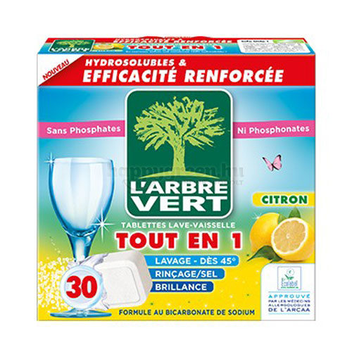L'Arbre Vert All in 1 Mosogatógép Tabletta Citromillattal, 30 db