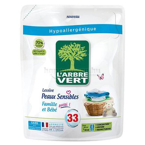 L'Arbre Vert Folyékony Mosószer-utántöltő Érzékeny Bőrre a Babának és a Családnak, 1500 ml