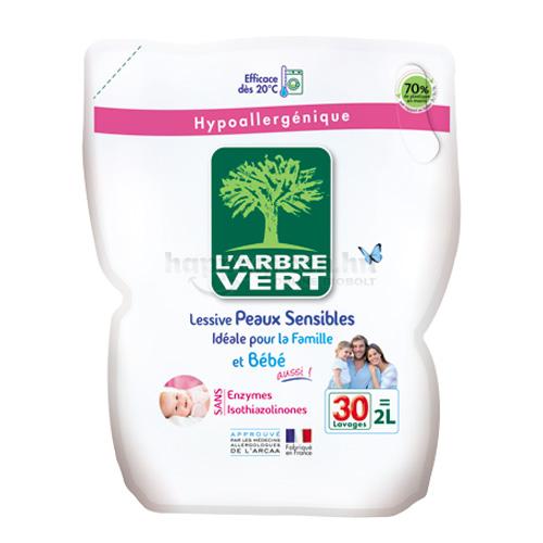 L'Arbre Vert Folyékony Mosószer Érzékeny Bőrre a Babának és Családnak, Utántöltő, 2000 ml