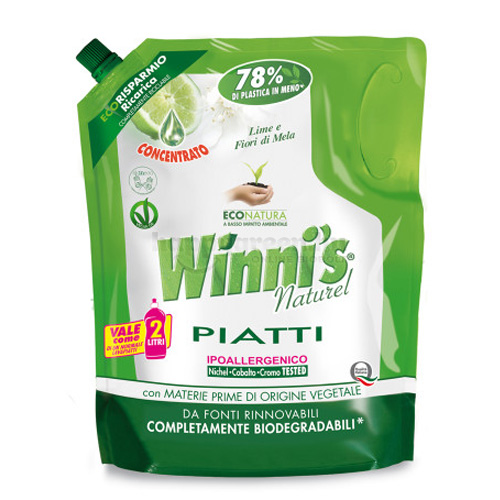 Winni's Mosogatószer Eco-Pack Utántöltő Lime és Almavirág Illattal, 1000 ml