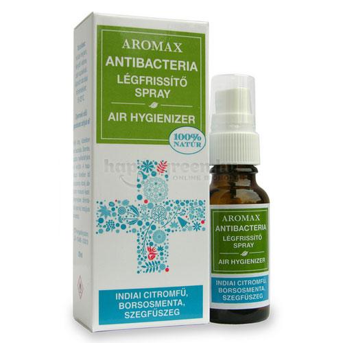 Aromax Antibacteria Légfrissítő Spray, Indiai Citromfű-Borsosmenta-Szegfűszeg, 20 ml
