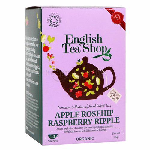 English Tea Shop Alma-Csipkebogyó Tea Málnafodrokkal, 20 db