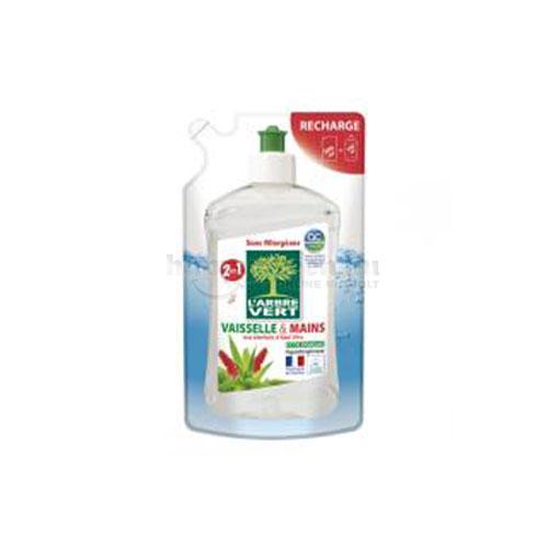 L'Arbre Vert Mosogató- és Kézmosószer Aloe Verával, Utántöltő, 500 ml