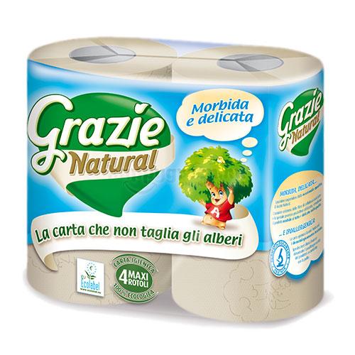 Lucart Grazie Natural Basic WC Papír, 4 db Maxi Tekercs