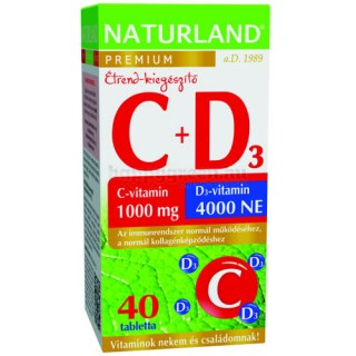 Naturland 1000 mg C + 4000 NE D Vitamin Tabletta, 40 db